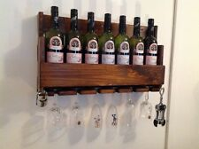 Hand made wooden rustic 7 bottle wine rack home club bar restaurant  cafe