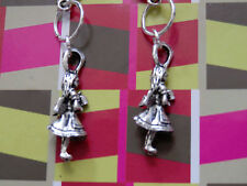 "Steampunk Style SP 2.75"" ALICE IN WONDERLAND 3-D ALICE Earrings w/.925 hooks"