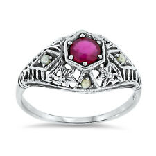 GENUINE RUBY ANTIQUE FILIGREE STYLE .925 STERLING SILVER RING SIZE 5,       #30