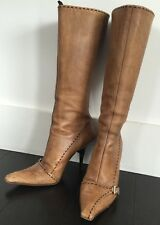 Prada Italy Medium Brown Pointed Toe High Heel Leather Boot Sz. 36 US 6