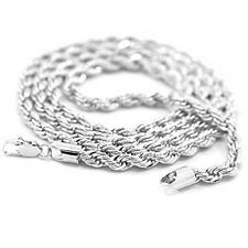 Mens 18K White Gold Plated 24in Rope Chain Necklace 4 MM