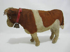 """Vintage Cow Toy Stuffed Dairy Farm Animal Excelsior Collar Bell 13"""" Long"""