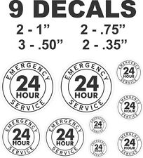 9 Black 24 Hour Emergency Service Vinyl Decals