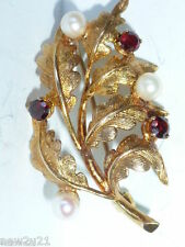 9 CARAT GOLD BROOCH PEARL GARNET OAK LEAF PIN RETRO BRIDAL JEWELLERY