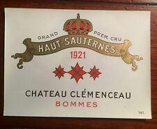 Vintage Haut-Sauternes 1921 Chateau Clemenceau Unused Wine Label