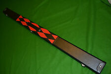 NEW QUALITY DELUXE PATCH RED / BLACK DIAMONDS 3/4 SNOOKER CUE CASE