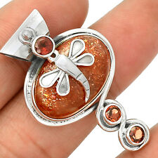 Dragonfly -  Natural Sun stone 925 Sterling Silver Pendant Jewelry SP220597