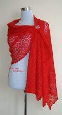 Womens Hand Knitted  Red Colour Wool Lace Scarf Shawl Wrap, Womens Accessories