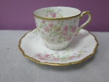 ANTIQUE C. AHRENFELDT LIMOGES FRANCE DEPOSE DEMITASSE CUP & SAUCER ROSES