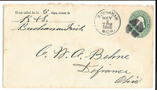 Nos 1895 enteros postales cubierta envolvente de Buchanan Michigan a Defiance, Ohio