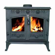 WoodBurner NEW Cast Iron Log Burner MultiFuel Wood Burning 12kw Stove JA006