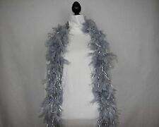 SILVER w/SILVER TINSEL Feather Boas Chandelle 6 Ft 60 gram New Year's Eve Lowest