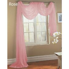 ROSE PINK SCARF SHEER VOILE WINDOW TREATMENT CURTAIN DRAPES VALANCE