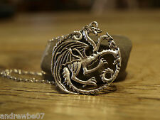 Game Of Thrones Daenerys Targaryen Three Headed  Dragon Chain Necklace Pendant