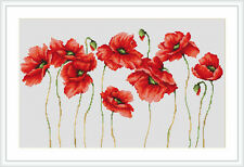 Cross Stitch Kit Poppies 3 Luca-s Anchor threads
