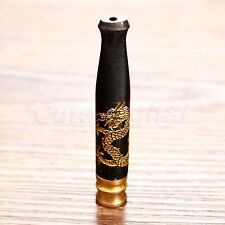 Dragon Carved Ebony Wood Filter Smoking Pipe Mouthpiece Cigarette Holder Gift