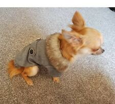 Chihuahua Size (XS) Christmas Grey Smart Style UniSex Dress Coat Dog Clothes