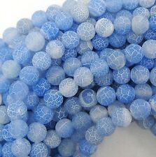 6mm Natural Blue Fire Dragon Veins Agate Gemstone Round Loose Beads 15'' Strand