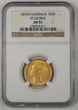 1872-M Australia One Sovereign Gold Coin St. George NGC AU-55