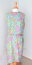 Vintage 1960's mod pink green blue free form swirl cocktail wiggle dress