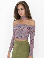 NWOT American Apparel Flower Tile Printed Choker Top S Small