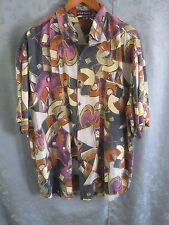 80's Montage Abstract Club Shirt Size XL Round Cut Tails