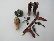 1/6 JONAH HEX CONFEDERATE HOLSTER BOOTS AND HAT LOT WITH HEAD, GUNS, AND SPURS