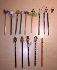 Old Vintage Halloween Pencils Russ Figure Ghost Pumpkin Witch Kitty Scary Lot 14
