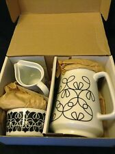 """nOTNEUTRAL"" NWB, BLACK & WHITE RIBBON COLLECTION, 5pc PORCELAIN COFEE SET"