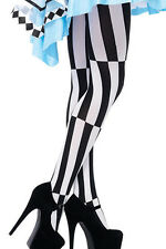 PUNK ROCK GOTH PSYCHADELIC FANCY DRESS ALICE IN WONDERLAND BLACK WHITE TIGHTS