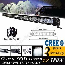 37INCH 180W CREE LED CURVED WORK LIGHT BAR SINGLE ROW COMBO OFF ROAD 4WD TRUCK