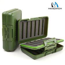 Waterproof Fly Box Olive Green Slit Foam Swing Leaf Storage Fishing 590 Flies