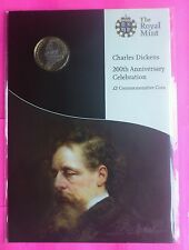 2012 ROYAL MINT CHARLES DICKENS  BRILLIANT UNCIRCULATED £2 TWO POUND COIN