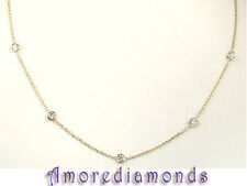 0.35 ct eyeglass bezel round diamond by the yard fashion necklace chain gold 16""