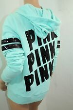 "VICTORIA'S SECRET Pink Fleece Bling Sequins Hoodie Green,Black Small NWT ""PINK"""