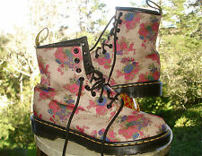 Dr. Doc Martens Castel Canvas Floral Eight Eyelet Lace-Up Ankle Boot Womens 41 9