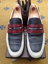 Gucci Mens Shoes Red White Blue Leather Horsebit Loafers UK 10.5 US 11.5 EU 44.5