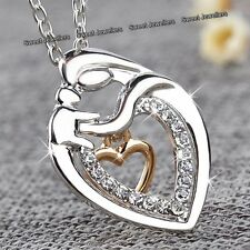 Silver Gold Heart Crystal Necklace Love Xmas Gifts For Her Mum Daughter Women B1