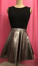 Used Girls Women's Leather Look Black Metallic Bronze Strapless Dress Size 10/12