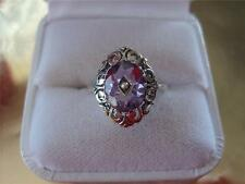 Genuine Amethyst-Seed Pearl Filigree Sterling Silver Ring