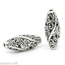 10PCs Metal Spacer Beads Hollow Flower Pattern Carved Oval Silver Tone