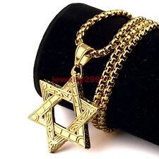 Fashion Men's Yellow Gold Plated Stainless Steel Star of David Pendant Necklace