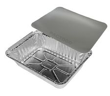 2 1/4 lb. Oblong Aluminum Foil Take-Out Pan Container Tins w/Board Lid 50 Sets