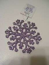 4.5 INCH PURPLE LILAC GLITTER SNOWFLAKE CHRISTMAS TREE ORNAMENT DECORATION