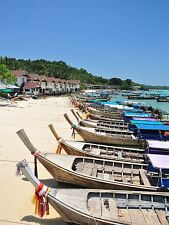 PRINT PHOTO SEASCAPE MOTOR BOAT BEACH PHUKET THAILAND TROPICAL SAND SEA LFMP0115