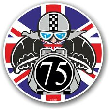 Retro Cafe Racer 1975 Ton Up Club Union Jack Flag Roundel vinyl car bike sticker