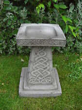 LARGE CELTIC BIRD BATH FEEDER TABLE Hand Cast Stone Garden Ornament ⧫onefold-uk