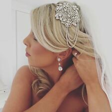 CHIC SIDE BRIDAL HEADBAND, Vintage Wedding Crystal Tiara, Bridal Headpiece