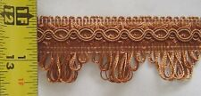 "1.5"" Gimp Trim 3 YDS Coin Gold and Light Brown match Braid Bullion Fringe Cord"