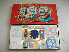 Rare Childs 1950s 60s Embroidery Set Toy ~ Complete & Unused